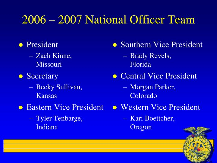 2006 2007 national officer team