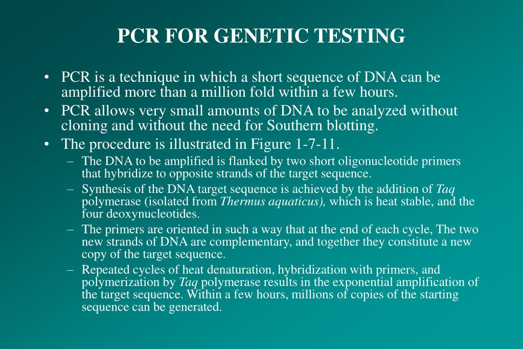 PCR FOR GENETIC TESTING