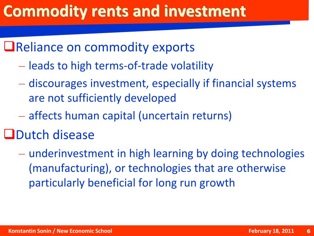 Commodity rents and investment