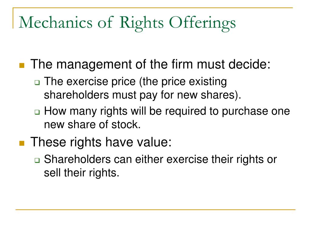 Mechanics of Rights Offerings