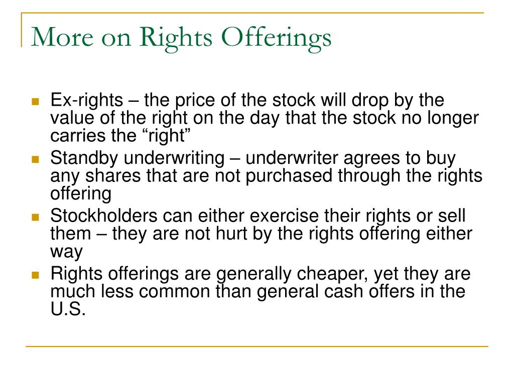 More on Rights Offerings