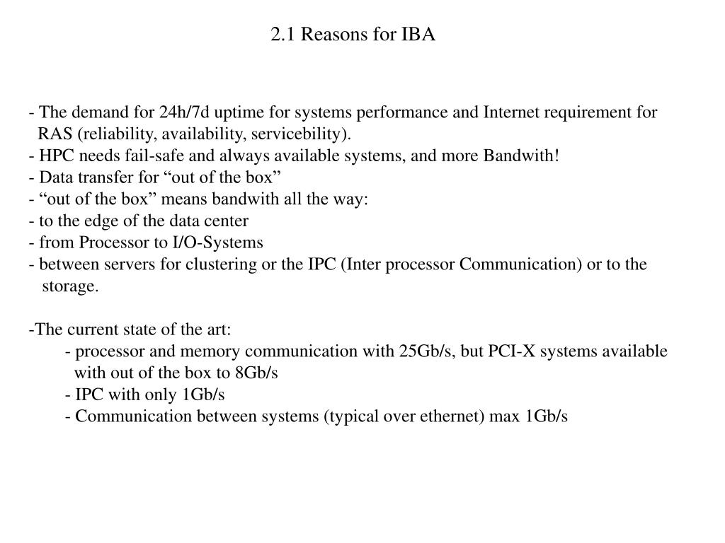 2.1 Reasons for IBA