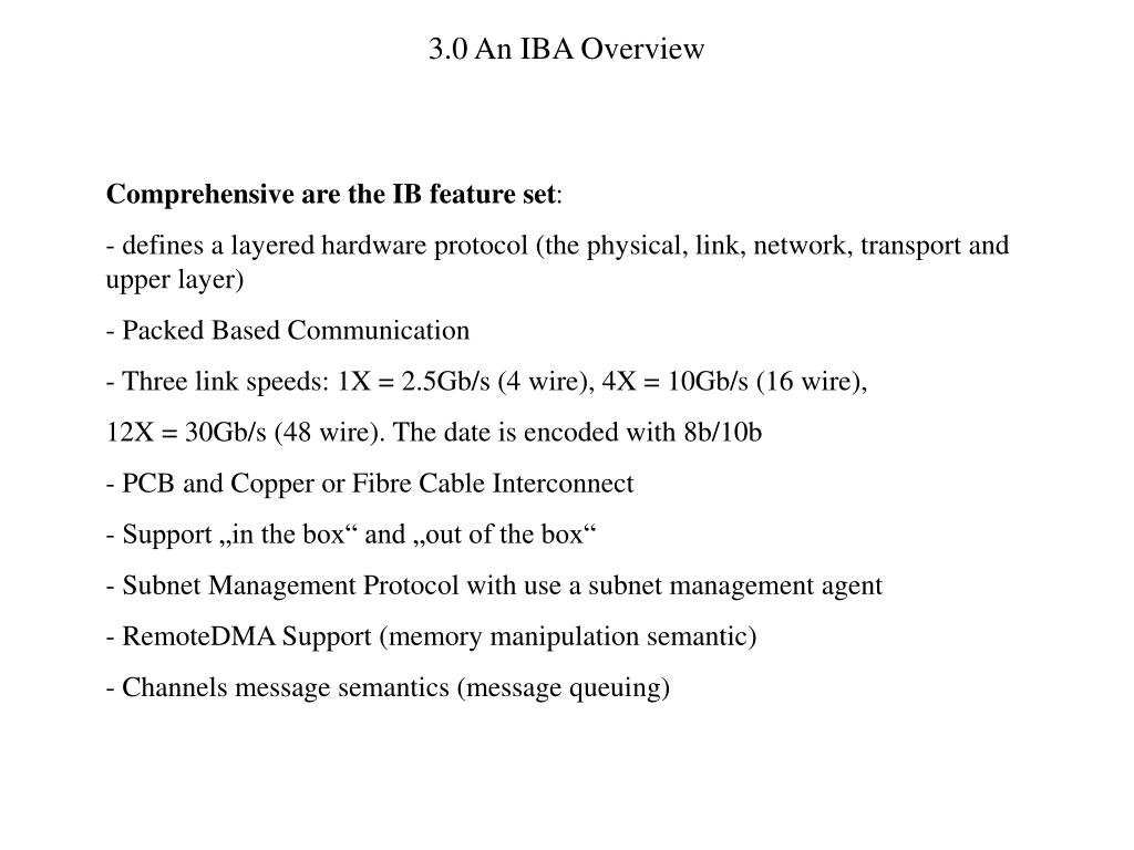 3.0 An IBA Overview