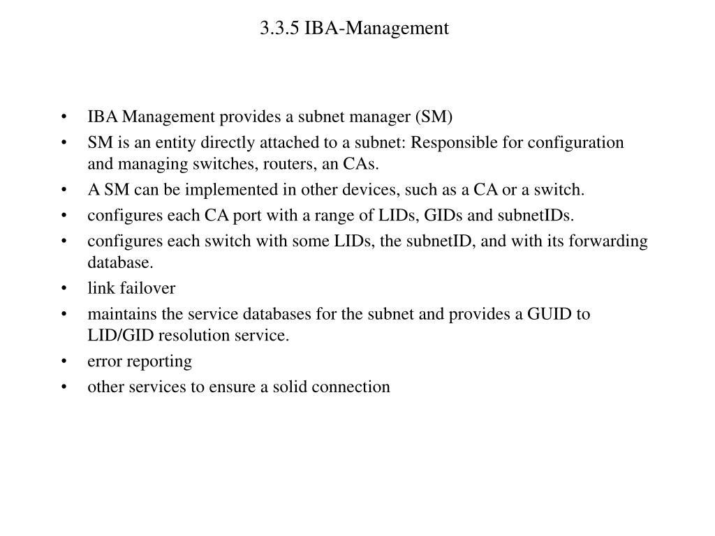 3.3.5 IBA-Management