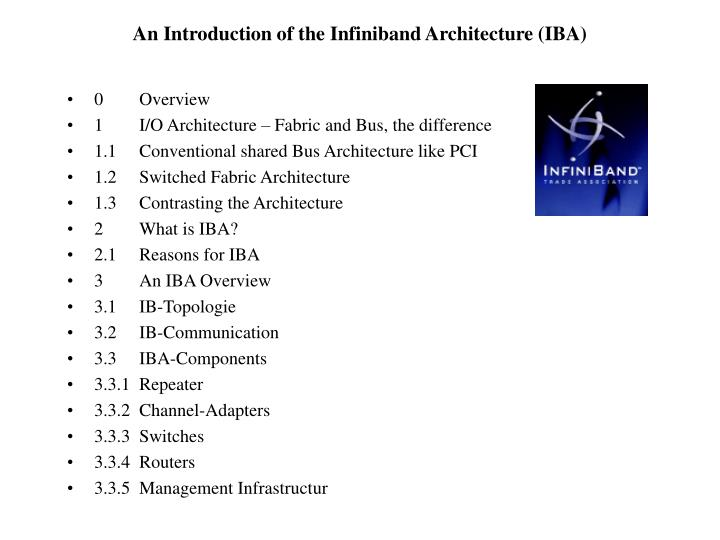 An introduction of the infiniband architecture iba