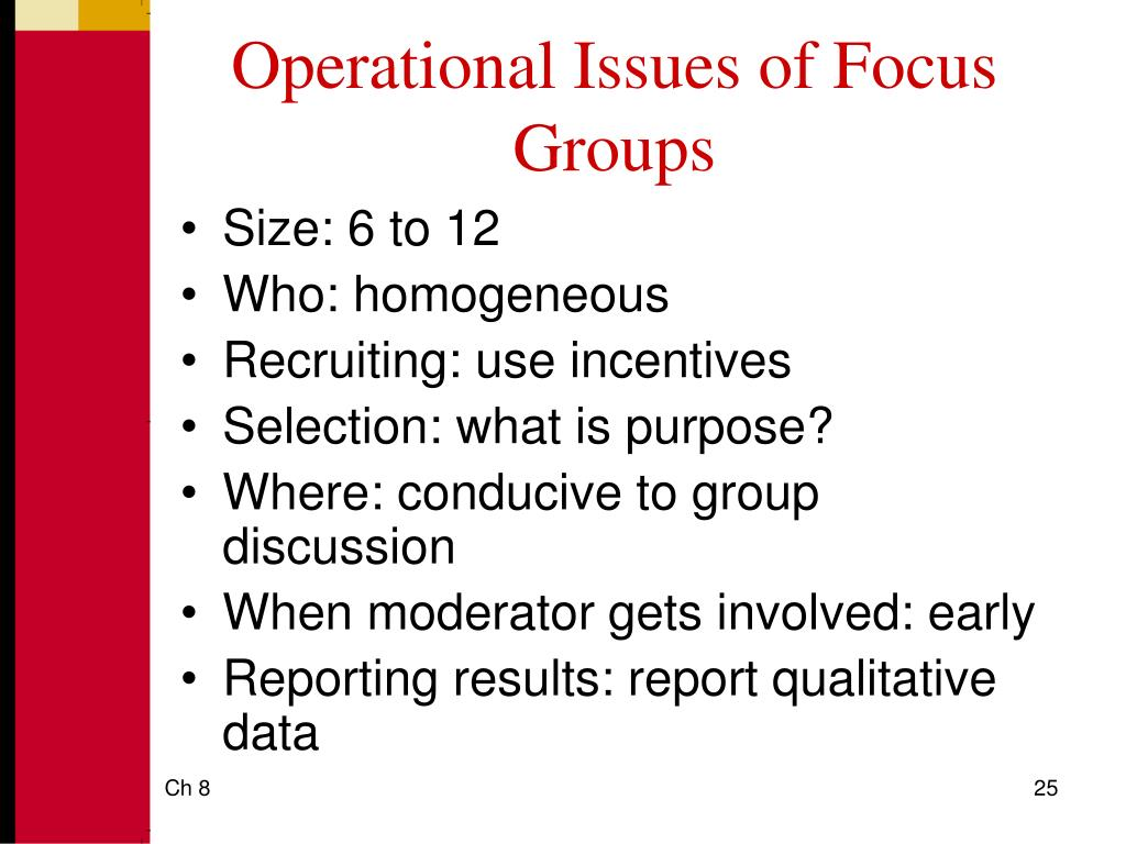 Operational Issues of Focus Groups