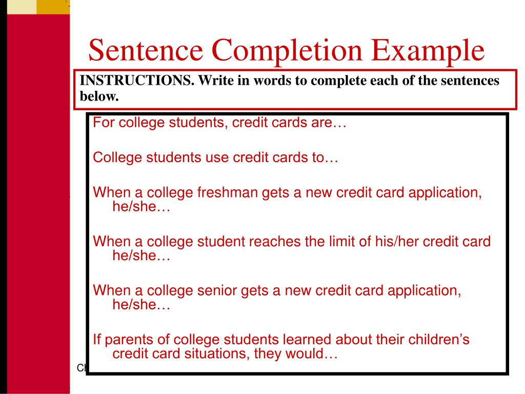 Sentence Completion Example