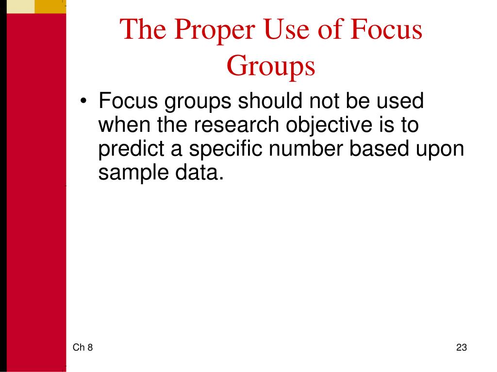 The Proper Use of Focus Groups