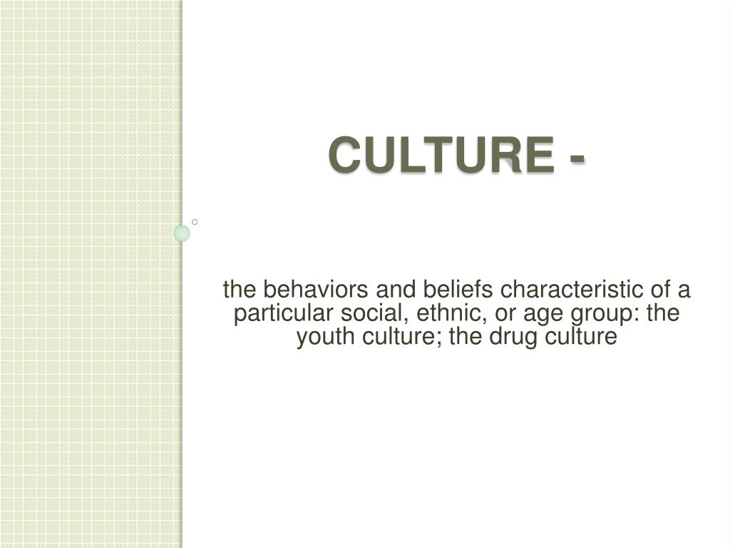 the behaviors and beliefs characteristic of a particular social, ethnic, or age group: the youth culture; the drug culture