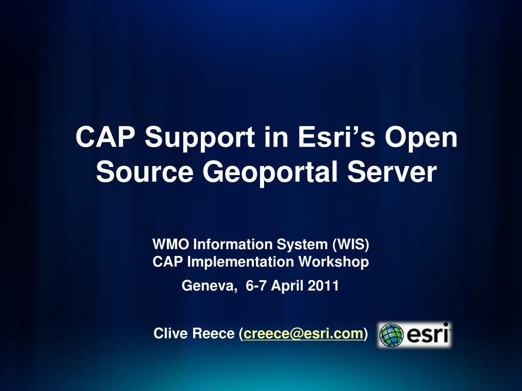 cap support in esri s open source geoportal server l.