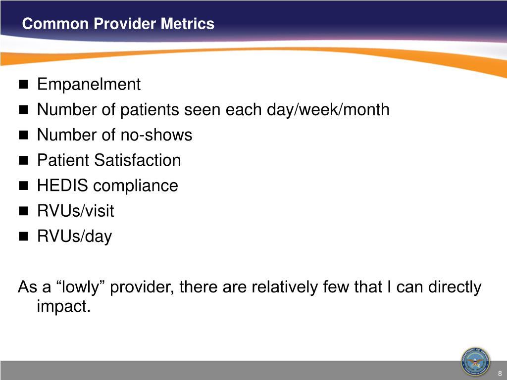 Common Provider Metrics