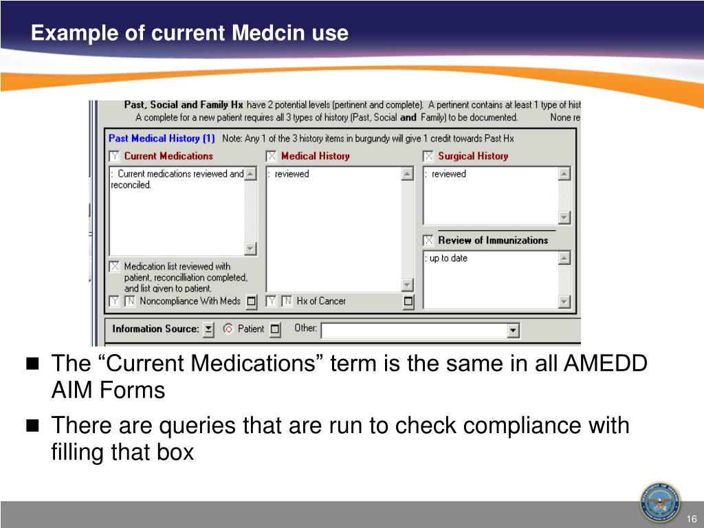Example of current Medcin use