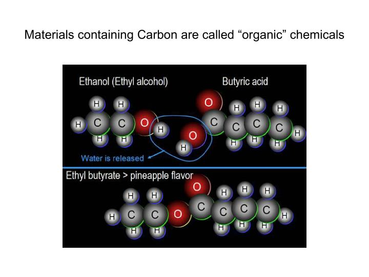 "Materials containing Carbon are called ""organic"" chemicals"