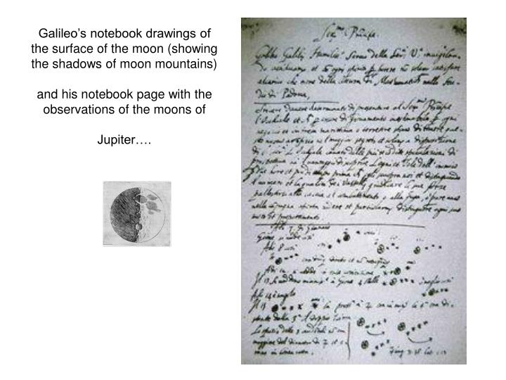 Galileo's notebook drawings of the surface of the moon (showing the shadows of moon mountains)