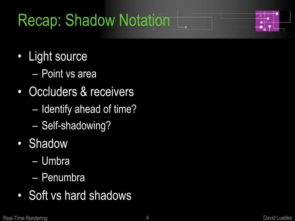 Recap: Shadow Notation