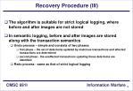 recovery procedure iii