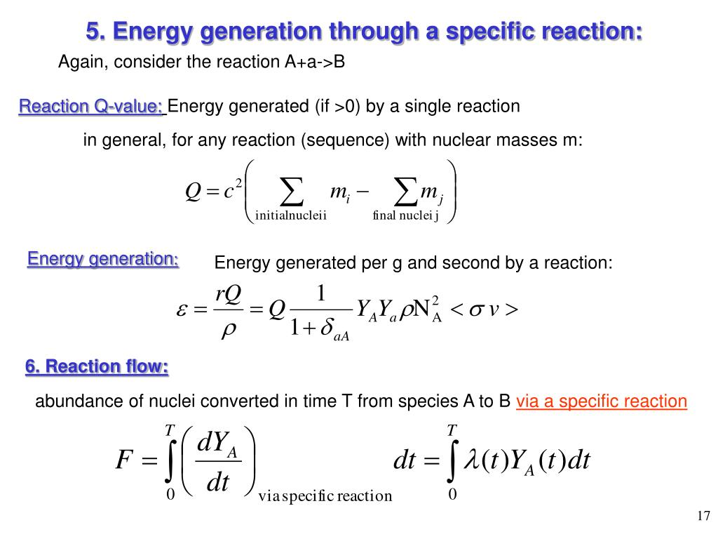 5. Energy generation through a specific reaction: