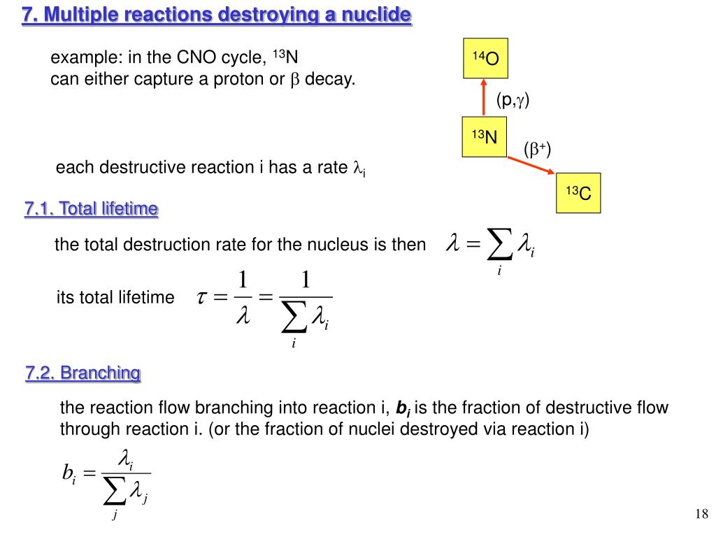 7. Multiple reactions destroying a nuclide