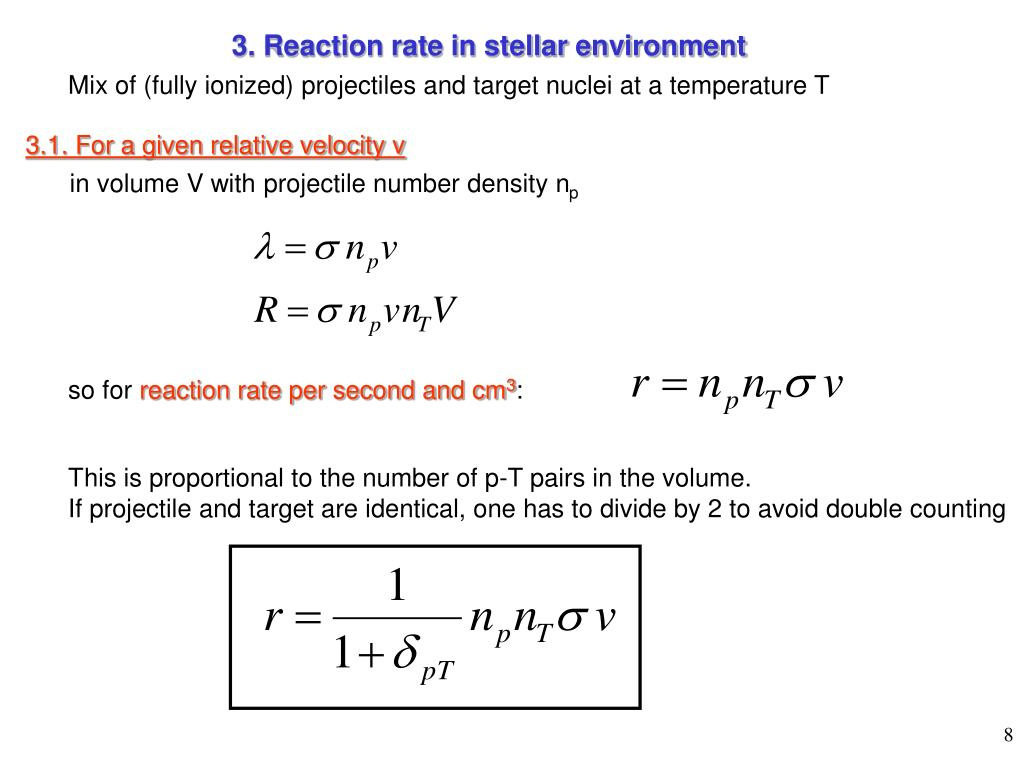 3. Reaction rate in stellar environment