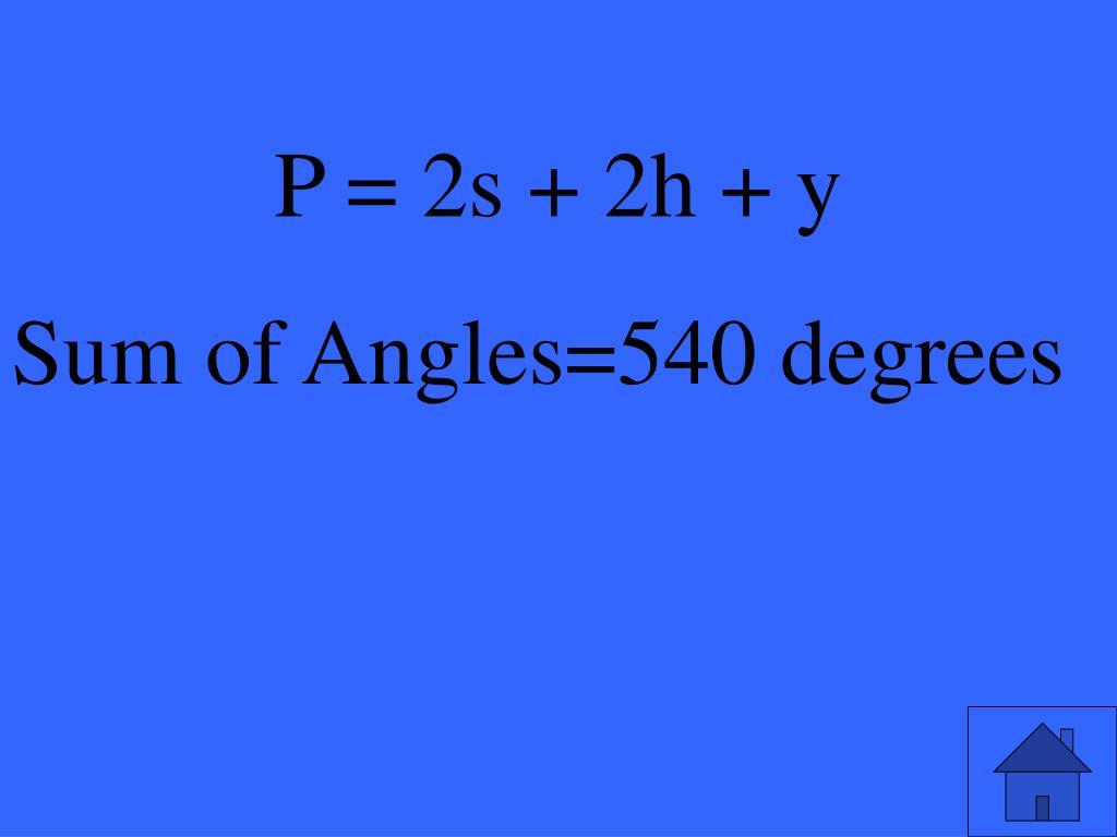P = 2s + 2h + y