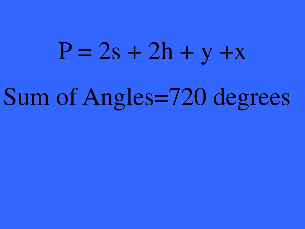 P = 2s + 2h + y +x
