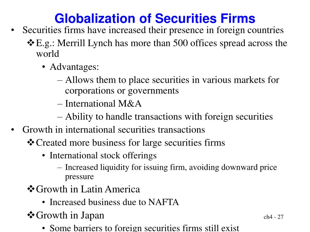 Globalization of Securities Firms
