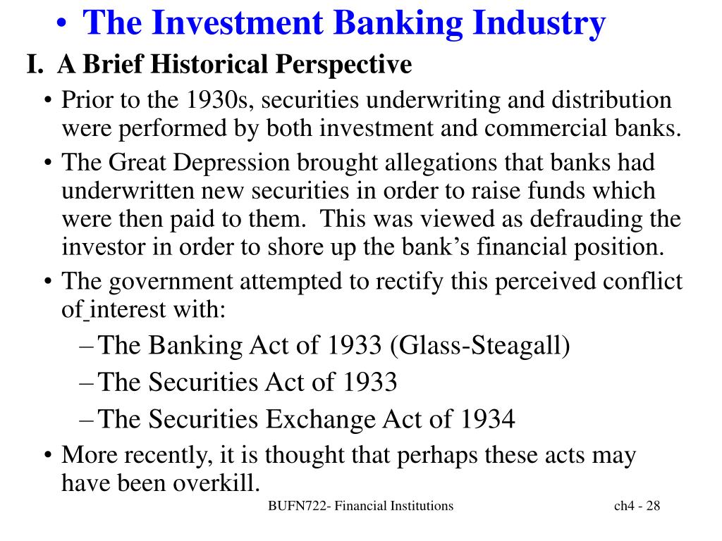 The Investment Banking Industry