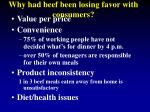 why had beef been losing favor with consumers