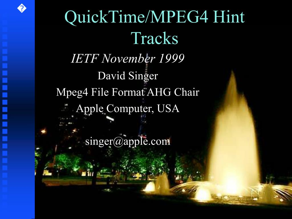 quicktime mpeg4 hint tracks