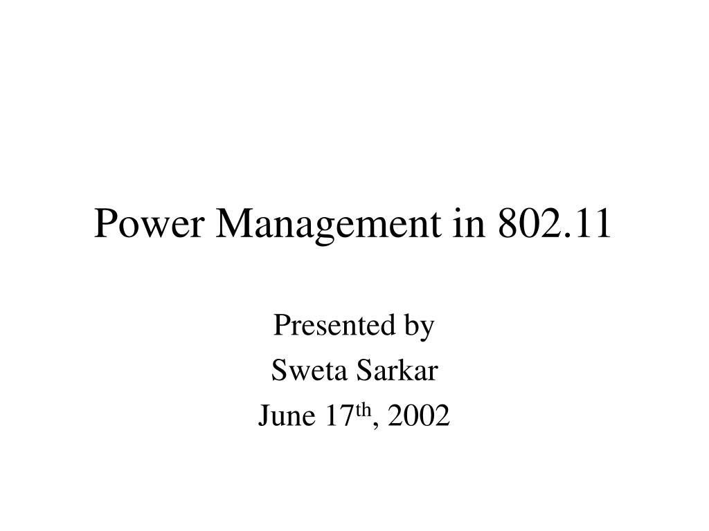 Power Management in 802.11
