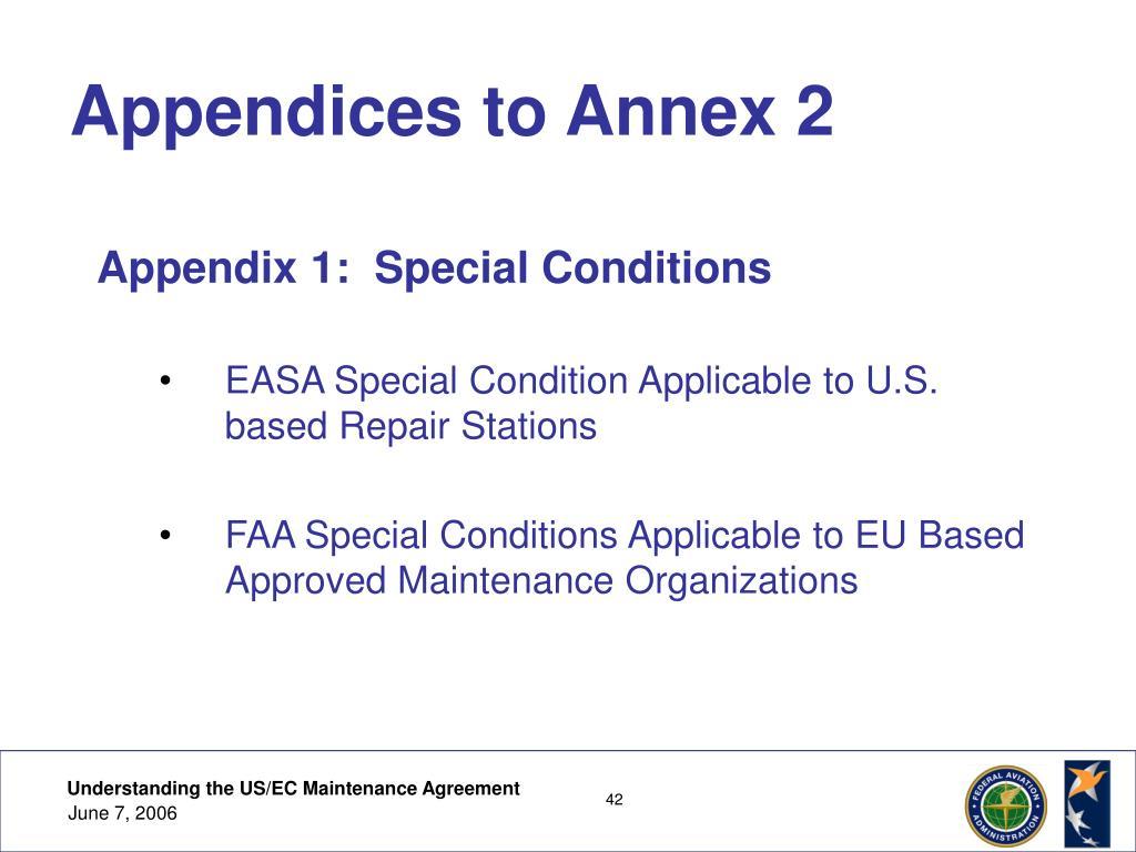 Appendices to Annex 2