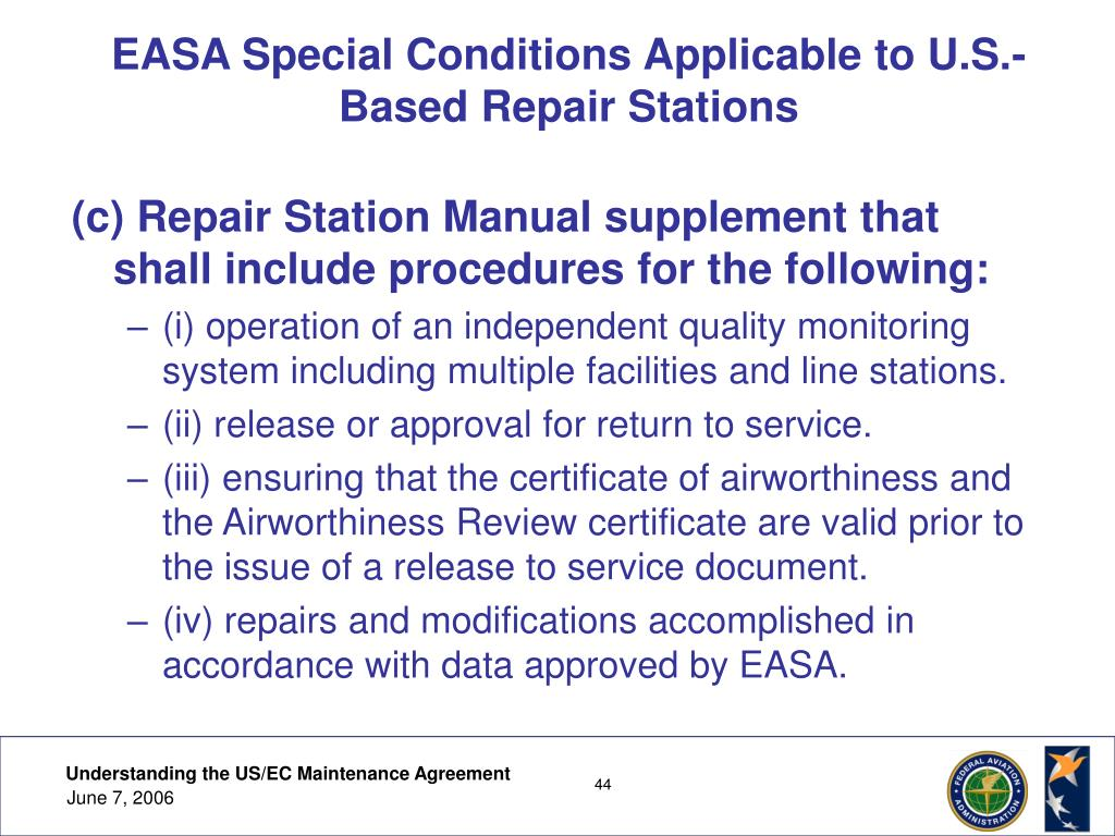 EASA Special Conditions Applicable to U.S.-Based Repair Stations
