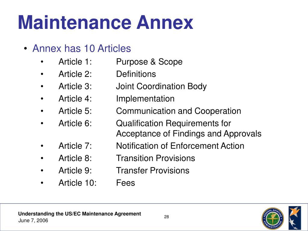 Maintenance Annex
