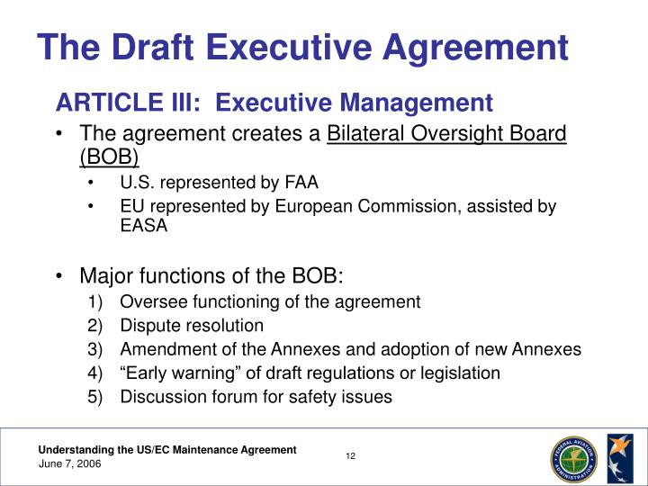 Ppt understanding the us ec maintenance agreement powerpoint the draft executive agreement platinumwayz