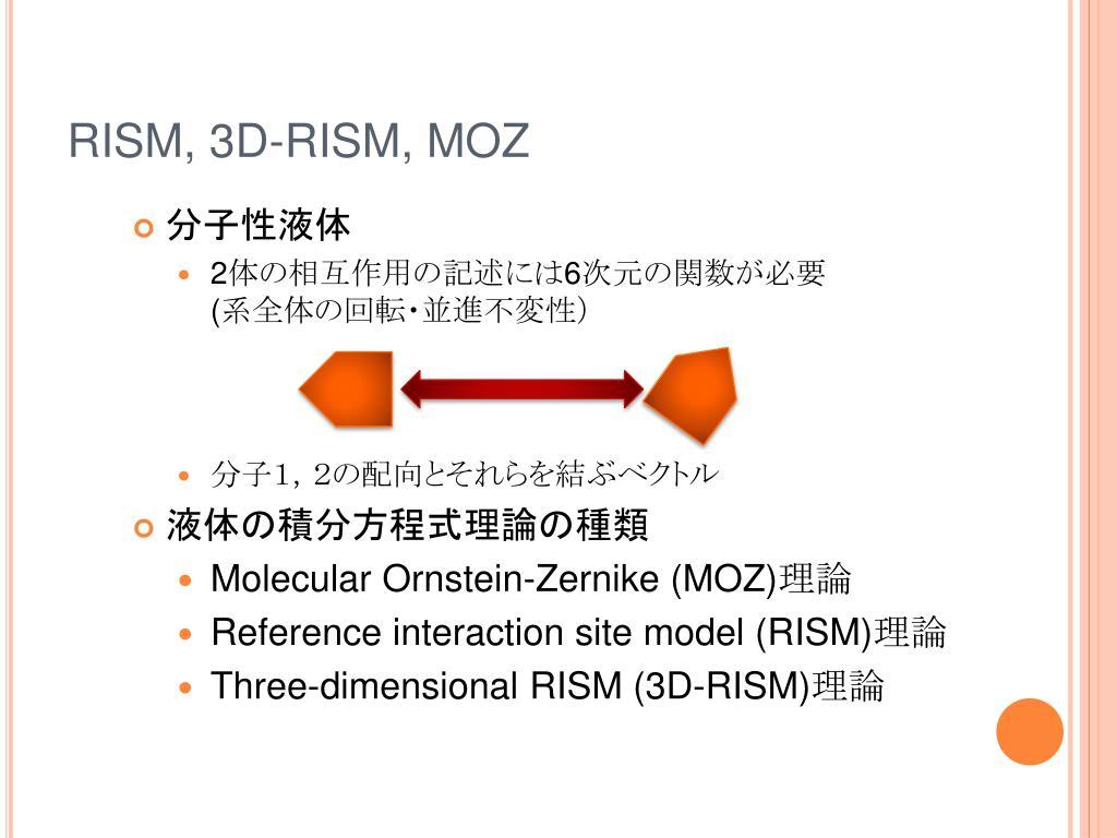 RISM, 3D-RISM, MOZ