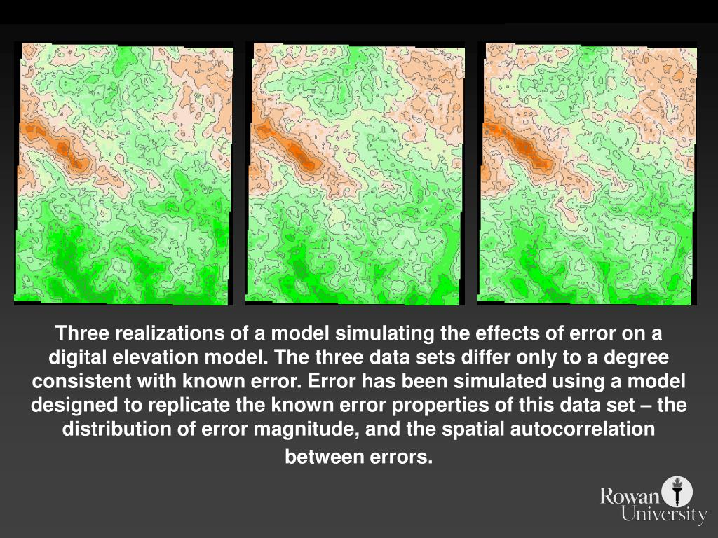 Three realizations of a model simulating the effects of error on a digital elevation model. The three data sets differ only to a degree consistent with known error. Error has been simulated using a model designed to replicate the known error properties of this data set – the distribution of error magnitude, and the spatial autocorrelation between errors.