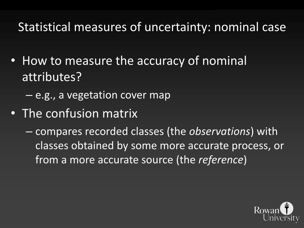Statistical measures of uncertainty: nominal case