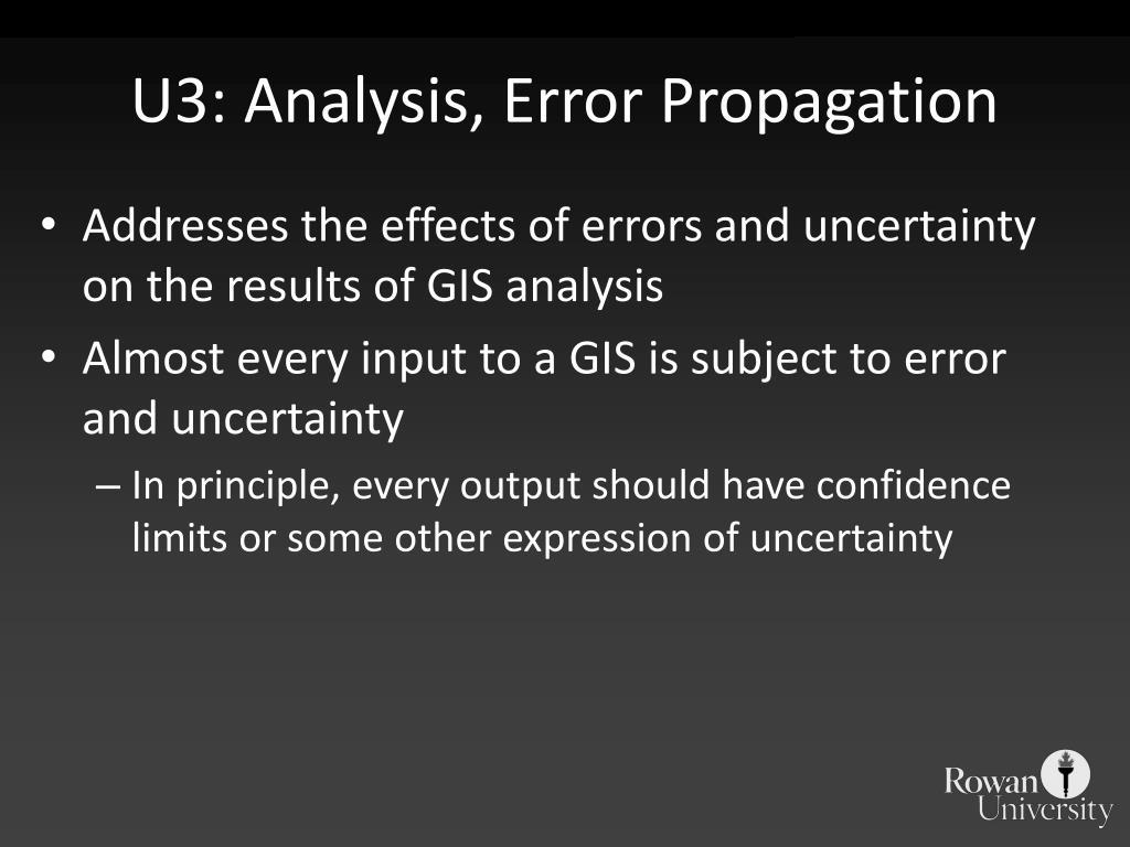 U3: Analysis, Error Propagation