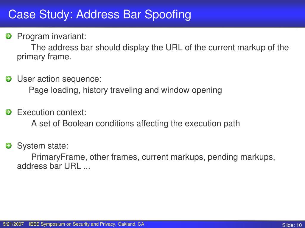 Case Study: Address Bar Spoofing
