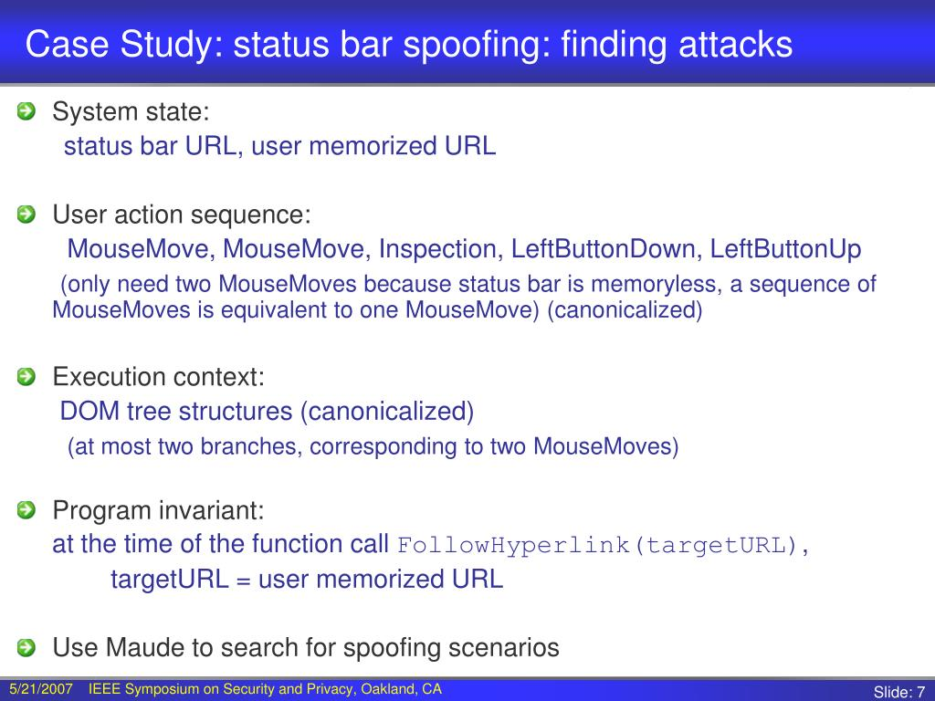 Case Study: status bar spoofing: finding attacks