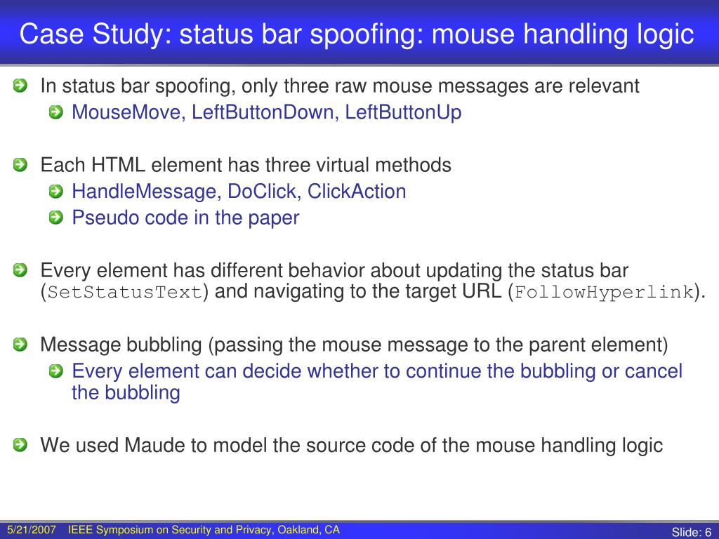 Case Study: status bar spoofing: mouse handling logic