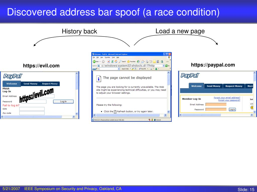 Discovered address bar spoof (a race condition)