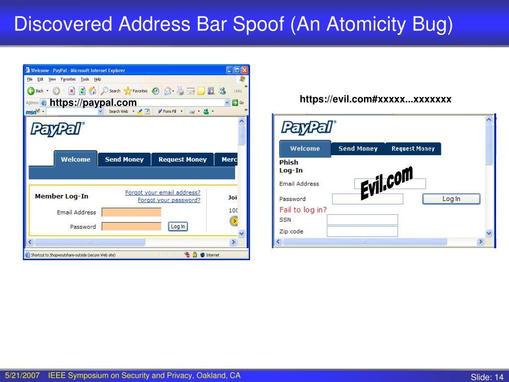 Discovered Address Bar Spoof (An Atomicity Bug)