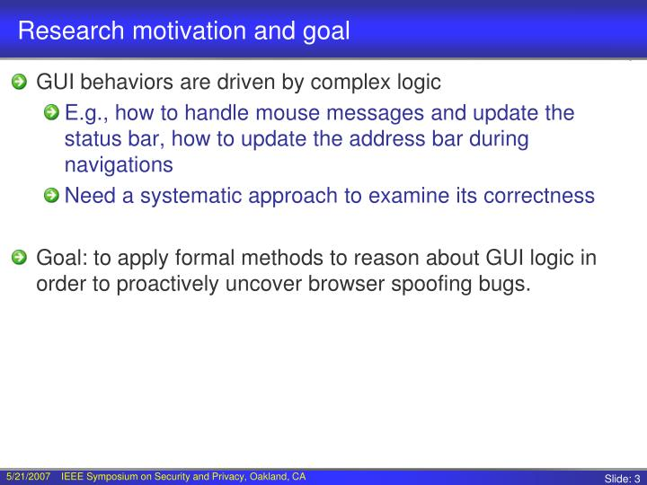 Research motivation and goal