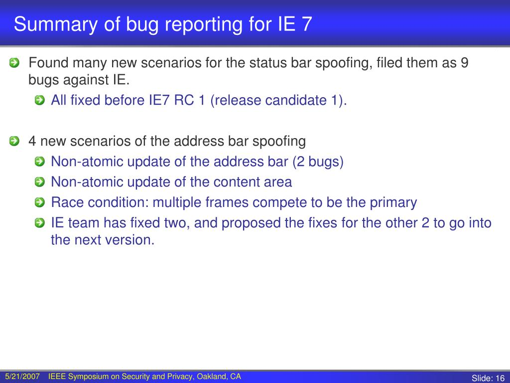 Summary of bug reporting for IE 7
