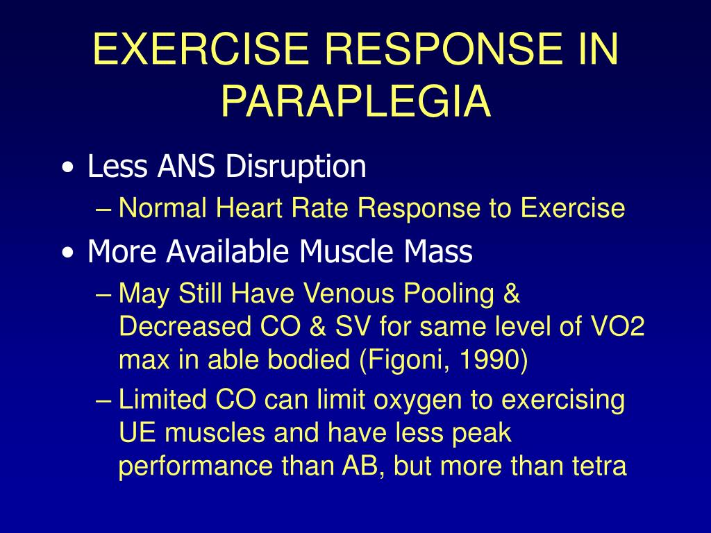 EXERCISE RESPONSE IN PARAPLEGIA
