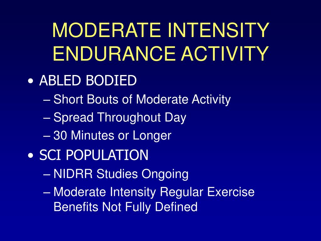 MODERATE INTENSITY ENDURANCE ACTIVITY