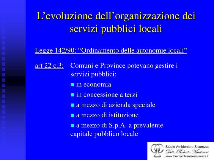 L evoluzione dell organizzazione dei servizi pubblici locali