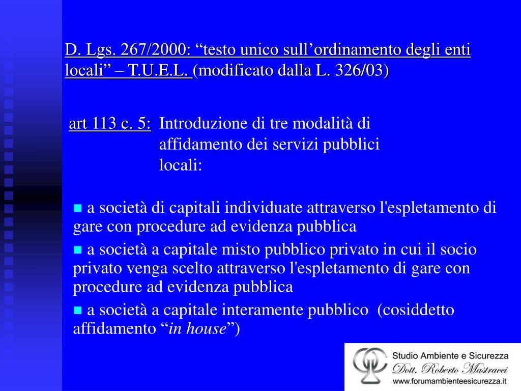"""D. Lgs. 267/2000: """"testo unico sull'ordinamento degli enti locali"""" – T.U.E.L."""