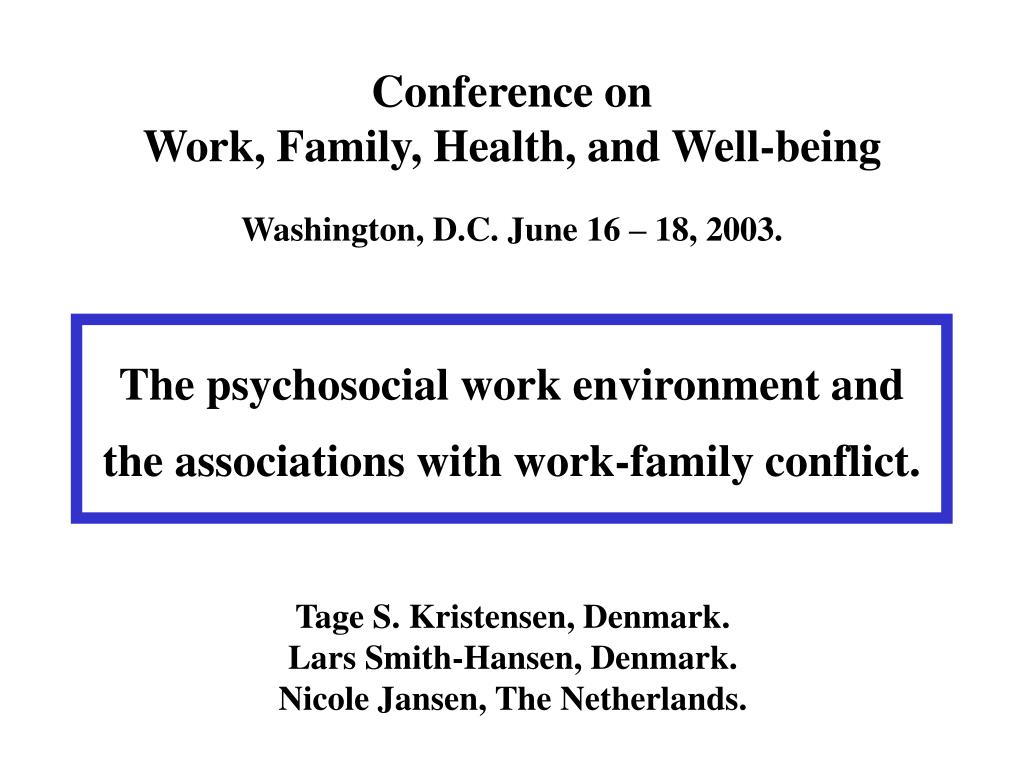 conference on work family health and well being